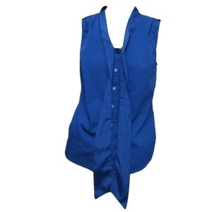 The Limited Blue Button Down Tie Neck Tank Top